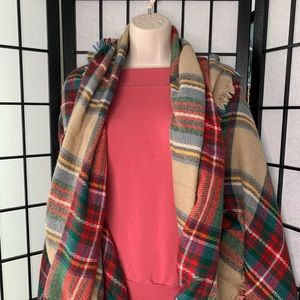 J. Crew Red & Brown Paid Wool Wrap/Scarf/Shaw